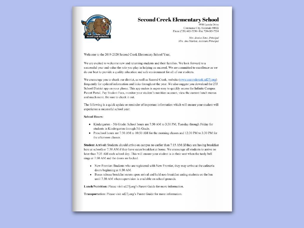 Second Creek Elementary / Homepage