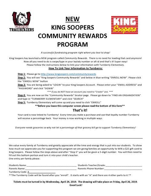 New King Soopers Community Rewards Program