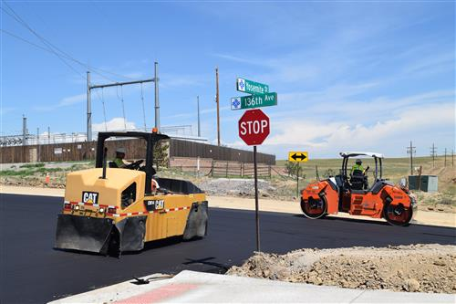 The intersection at 136th Avenue and Yosemite Street has been recently paved.