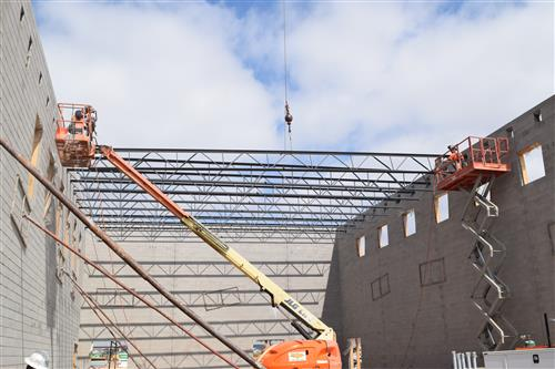 Crews continue to hang steel at Elementary School #13.