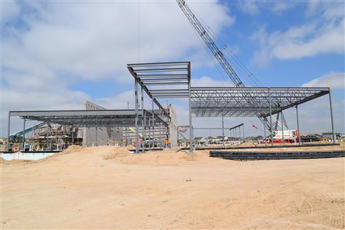 Structural steel has been started at Elementary #13. This is the front entryway.