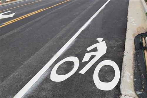 Bike lanes were re-painted along Yosemite Street