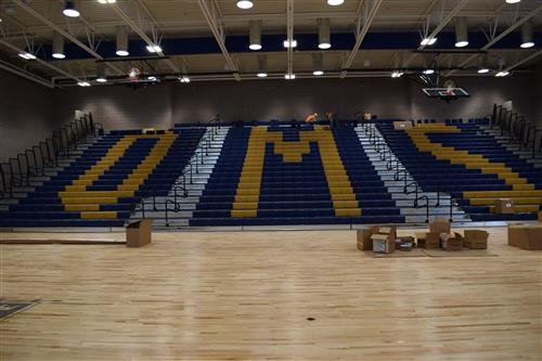 The bleachers are installed at Quist Middle School which will open to students in January.