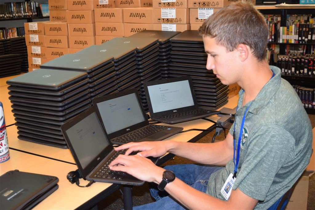 Blake Bushlack is doing a summer internship with the 27J Technology Department.